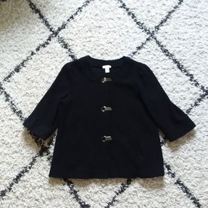 Chico's black wool cardigan with hardware detail